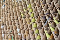 Students at the University of Newcastle built a temporary coffee recycled cardboard structures