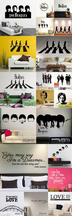 [Visit to Buy] Cheap Vinyl Home Decoration Beatles Wall Sticker Cartoon Removable House Decor British Musician Wall Decal Free Shipping #Advertisement