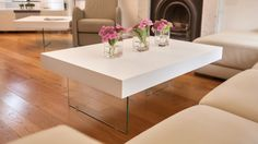 The Aria Large White Oak and Glass Coffee Table will effortlessly blend in with any interior. Its white oak veneer top and strong tempered safety glass legs work together to give a modern and contemporary look