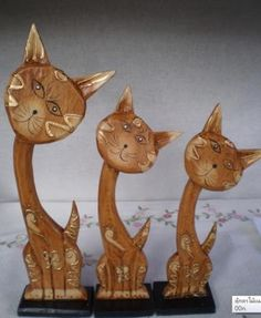 Set family wood carved brown cat  by luckman for $48.00