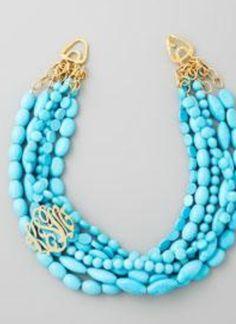 Moon & Lola Multi-Strand Turquoise Magnesite Necklace rza2pSG
