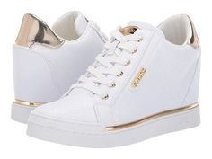 GUESS Flowurs Women's Lace up casual Shoes White Synthetic Dr Shoes, Guess Shoes, Me Too Shoes, Shoes Heels, Pretty Shoes, Cute Shoes, White Wedge Sneakers, Sneakers Fashion, Fashion Shoes