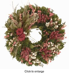 Katharines Victorian Rose Wreath - 18 in      Our Katharine Victorian Rose Wreath is designed using elegant real roses that are meticulously preserved and combined with natural tapestry millet fern ammobium fern and salal. Measures 18 inches across by 4.5 inches deep.  $89.99