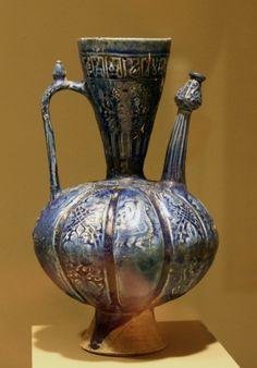 Persia, Seljuk period, 12th century, Earthenware ewer with molded decor under lapis-blue glaze. Minneapolis Institute of Arts
