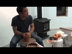 SIMON LEACH POTTERY - Kazu Oba at his studio 30 April'12 throwing a bunch of altered rim bowls.