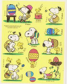 Vintage RARE Snoopy Easter Sticker Sheet by Hallmark | eBay