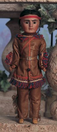 Bahr and Proschild bisque portrait doll of a Native American, circa 1890, Germany.