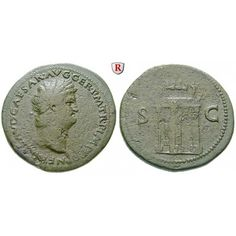 Römische Kaiserzeit, Nero, Sesterz 65, ss+/ss: Nero 54-68. Messing-Sesterz 36 mm 65 Lyon. Kopf r. mit Lorbeerkranz, Globus am… #coins