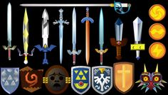 Zelda Swords and Shields 3 - what's up with the one on the top?  Is that just one we steal from a bad guy for two seconds?