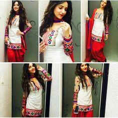 White Cotton Patiala Salwar Suit