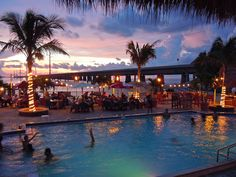 # 125 Enjoy the night lights at the Sunset Grill & Raw Bar next to the 7 mile bridge in Marathon.