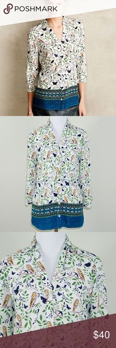 """Anthropologie Maeve Woodland Walk Owl Print Top ✨Condition: Excellent, Pre-owned ✨Measurements (approx. when flat): Length 25"""" Pit to Pit 18"""" ✨Features: On-trend and great for fall!! Button down top with 3/4 sleeves. Anthropologie Tops Button Down Shirts"""