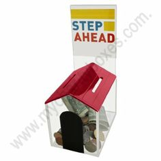 "Donation Box "" Dog House Style"" W/sign Holder and Lock (Red)"
