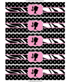 DIY Printable Polka Dot Zebra Vintage Barbie Water Bottle Labels. $6.00, via Etsy. Barbie Party Decorations, Barbie Theme Party, Birthday Party Themes, Graduation Stickers, Wedding Stickers, Barbie Paris, Frozen Party Invitations, Chanel Birthday Party, Minnie Mouse Theme