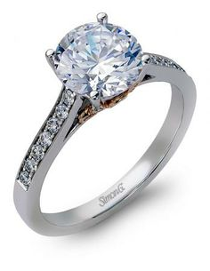 Simon G : Stunning Single Row of Diamonds and Rose Gold accents in this Designer Engagement Ring from Simon G