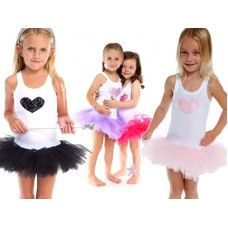Sweetheart Tutu Dress:- A wonderful cotton singlet style tutu dress. The skirt has 7 layers of tulle cut to create a puffy tutu. The white singlet top has a full sequined heart . Designed to be worn everywhere, the style is modern and very cool.