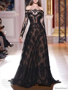 Off The Shoulder Haute Couture Evening Dresses Zuhair Murad Lace Dress 2013 Long Sleeves Beaded Prom Dresses Beautiful Maxi Dresses, Beautiful Gowns, Pretty Dresses, Beautiful Outfits, Gorgeous Dress, Beautiful Flowers, Beautiful People, Evening Dresses, Prom Dresses