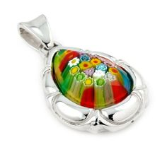 Millefiori Faceted Multi Color Drop Pendant With Electroform Silver Frame Millefiori. $85.80. Handmade (patterns and colors may slightly vary). Approximate Length: 55 MM (2.15 INCHES). Approximate Width: 32 MM (1.25 INCHES). Designer Jewelry by Alan K.. Authentic Murano Glass from Italy