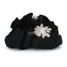 Pochette soirée sac à main pas cher pochette noire en soie plissée rehaussé de broche florale