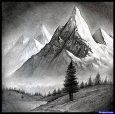 Как нарисовать пейзаж с горами карандашом поэтапно