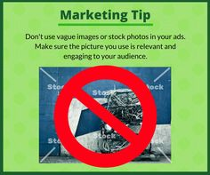 Marketing tip of the day! Don't bore your audience with non-relevant images or stock photos. Make sure to use engaging pictures. Facebook posts with images, including advertisements, see 2.3x more engagement than those without, so put in the effort to source the right visuals for your ads. #EmpowerMainStreet #DigitalMarketing #LocalsHelpingLocals #BeEmpowered