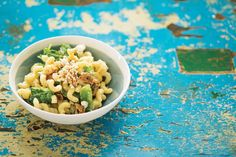 Pasta with Blue Cheese, Arugula, Figs, and Walnuts