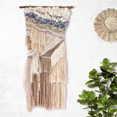 By The Seashore, Woven Wall Hanging, Tapestry, Weaving by CrossingThreadsAUS on Etsy https://www.etsy.com/au/listing/233592689/by-the-seashore-woven-wall-hanging