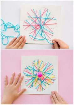 Kid made DIY String Art Flower Cards These pretty handmade cards are fun for kids to make as a spring craft or Mother's Day card. They're also great for practicing fine motor skills and/or beginner sewing for kids! #woodworkingforkids