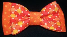 Double Dog Bow tie. Orange Cotton Pattern #dogbowtique #dog #bowtie #bow #dogbow #dogboutique #tie www.dogbowtique.com www.shop.dowbowtique.com www.facebook.com/dogbowtique