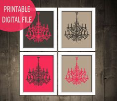 https://www.etsy.com/listing/123144856/printable-any-size-set-of-4-modern?ref=v1_other_1    Easy do it yourself art. Art collection. Modern art set. Chandeliers. Modern home decorating. Modern affordable art prints. Modern Nursery. Fancy childrens bedroom. Pink. Grey. Pink and grey decorating. Kitchen. Bedroom. Bathroom Art Idea.