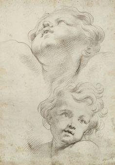 Domenico Piola (Genova 1627-1703) - volto di due angeli   #TuscanyAgriturismoGiratola