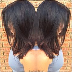 From one dimensional black to a lighter and softer rich chocolate brown with caramel balayage highlights and long layers to add movement and a pretty shape! #salonheadcandy #caramelhair #brownhairdontcare