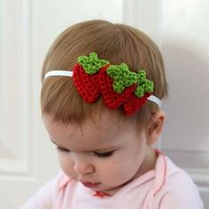 Diademas de crochet: Fotos de originales diseños - Diadema de crochet con forma de fresas