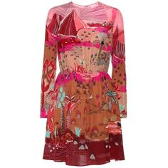 Valentino Printed Silk Dress (€1.900) ❤ liked on Polyvore featuring dresses, multicoloured, silk dress, multicolored dress, multi colored dress, multi print dress and valentino dress