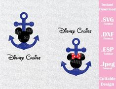 Anchor Mickey and Minnie Cruise Logo Mouse Ears Family Vacation Cutting File in SVG, ESP, DXF and JPEG Format