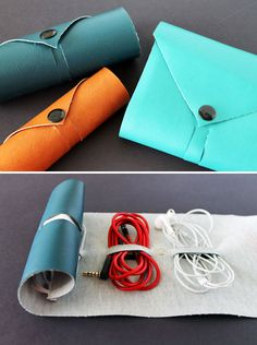 Which of These 10 Projects Should Be Our Next Brit Kit? via Brit + Co.  Cord Roll: Need a fashionable way to keep your cords in order when you're on the go? These faux leather cord rolls are convenient, sleek, and easy to recreate.