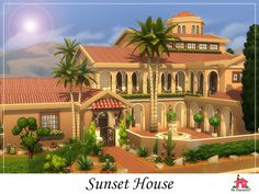 Sunset House is a family home built on a 50 x 50 lot. Found in TSR Category 'Sims 4 Residential Lots' Sims 2 House, Sims 4 House Plans, Sims 4 House Building, Sims 4 House Design, Duplex House Design, Dream House Plans, Spanish Style Homes, Spanish House, Spring Villa