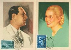 Two original postcards with figures of Peron and Evita. They are alluding to the five-year Plan 1947-1951 stamp and postmark date on October 17, 1951