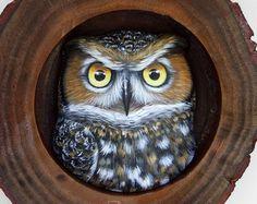 Den de búho chico | Un excelente amuleto para decorar su hogar y una única Idea de regalo para los amantes del buho! Búhos pintados por Roberto Rizzo
