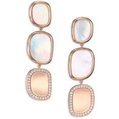 Roberto Coin Mother-Of-Pearl, Diamond & 18K Rose Gold Three-Row Ring ($2,700) ❤ liked on Polyvore featuring jewelry, rings, earrings, rose gold, stackable rings, 18k ring, pink rose gold ring, rose diamond ring and stackable diamond rings