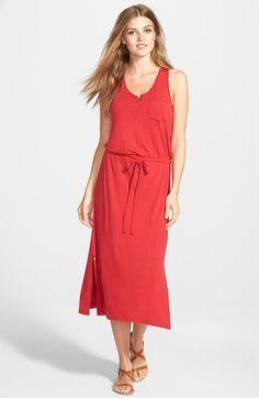 Caslon® Snap Detail Drawstring Waist Midi Dress (Regular & Petite) available at #Nordstrom