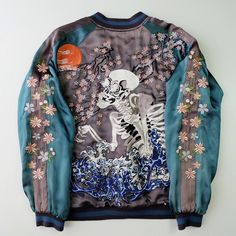 Vintage Japanese SATORI Cherry Blossoms Sakura Skull Skeleton Hokusai Wave Embroidered Sukajan Souvenir Jacket - Japan Lover Me Store