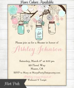 Mint Green Pink Shower Invitation Mason Jars Flowers Vintage Shabby Chic Baby Wedding Birthday Invites - Digital Printable PDF JPEG