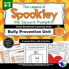 Spookley the Square Pumpkin-Bully Prevention Unit Engage In Learning, Social Emotional Learning, Help Teaching, Teaching Resources, School Guidance Counselor, Counseling Activities, Book Activities, Bullying Lessons