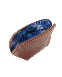 Necessaire azul de couro grande bronze  - LEPRERI - big necessaire for everything gold