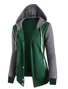 Women's Daily Color Block Hoodie Fall