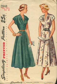 Just a nice dress: Simplicity 2848; ©1949. Dart-fitted bodice with a V neckline is softened by tucks.
