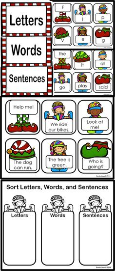 Letter Word Sentence Christmas Sorting Cards and Sorting Printable. 60 Cards in the set. Use in small groups or with Pocket Chart Literacy Center. Printable is perfect for Formative Assessment.#printawareness #literacycenter #handson
