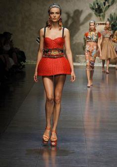 Dolce&Gabbana abito rosso in paglia intrecciata
