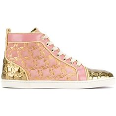 Christian Louboutin 'Bip Bip' hi-top sneakers ($740) ❤ liked on Polyvore featuring shoes, sneakers, leather high tops, lace up sneakers, metallic gold shoes, pink high top sneakers and metallic high top sneakers